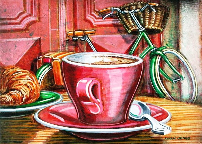 Still Life Greeting Card featuring the painting Still Life With Green Dutch Bike by Mark Howard Jones
