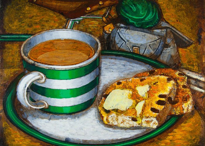 Tea Greeting Card featuring the painting Still Life With Green Touring Bike by Mark Jones