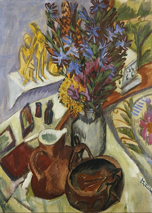 1910s Greeting Card featuring the painting Still Life With Jug And African Bowl by Ernst Ludwig Kirchner