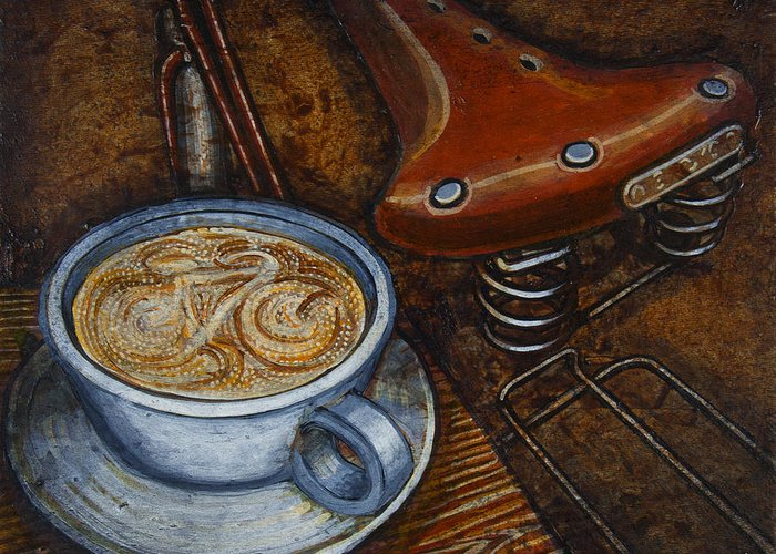 Coffee Greeting Card featuring the painting Still Life With Ladies Bike by Mark Jones