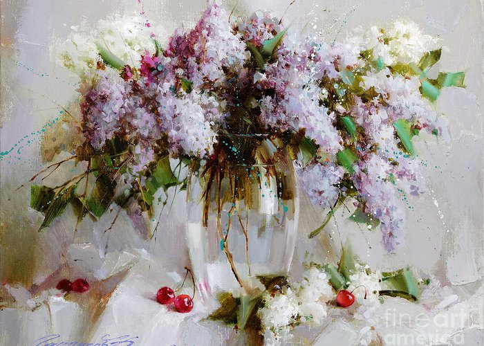 Flowers Greeting Card featuring the painting Still Life With Lilac by Ramil Gappasov