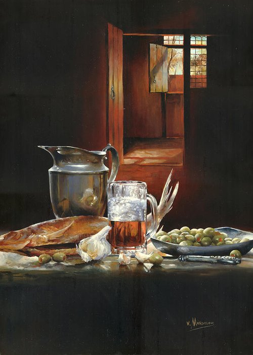 Still Life With Fish Greeting Card featuring the painting Still Life With Olives And Fish by Victor Mordasov