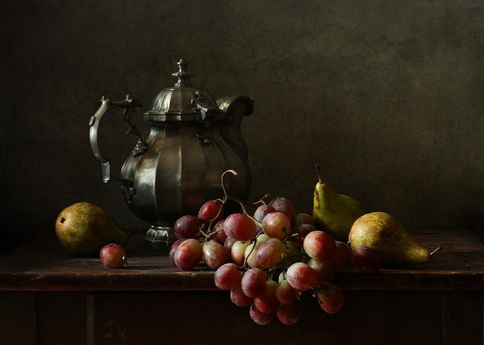 Fine Art Photograph Greeting Card featuring the photograph Still Life With Pewter Teapot And Grapes And Pears by Diana Amelina