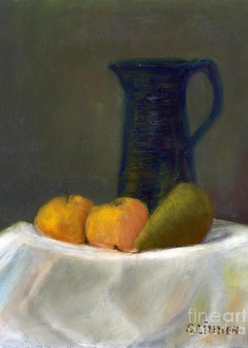 Still Life With Pitcher And Fruit Greeting Card featuring the painting Still Life With Pitcher And Fruit by Sandy Linden