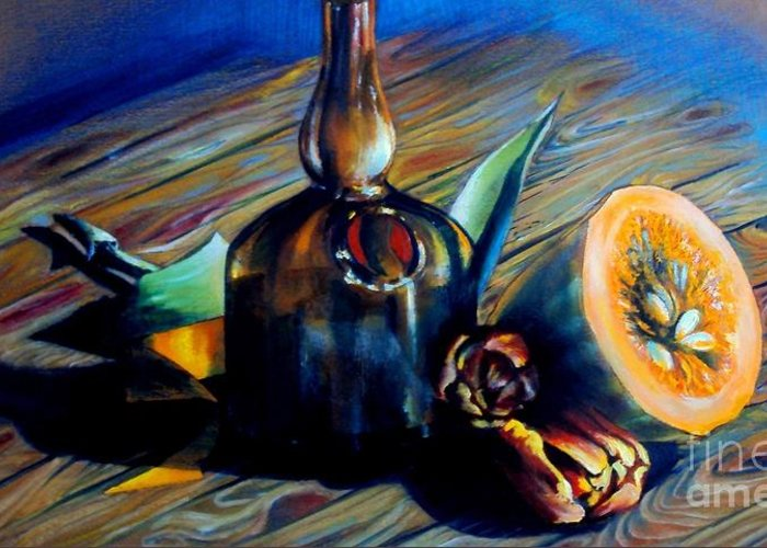 Delicate Greeting Card featuring the painting Still Life With Pumpkin And Tulips by Alessandra Andrisani