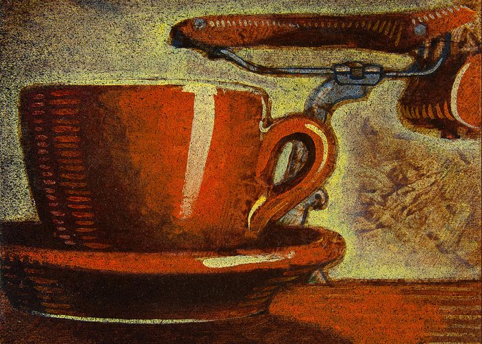 Coffee Greeting Card featuring the painting Still Life With Racing Bike by Mark Howard Jones