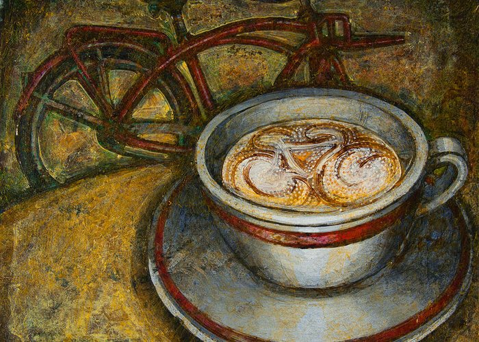 Coffee Greeting Card featuring the painting Still Life With Red Cruiser Bike by Mark Howard Jones