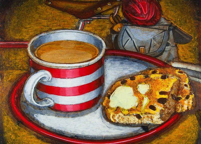 Tea Greeting Card featuring the painting Still Life With Red Touring Bike by Mark Howard Jones
