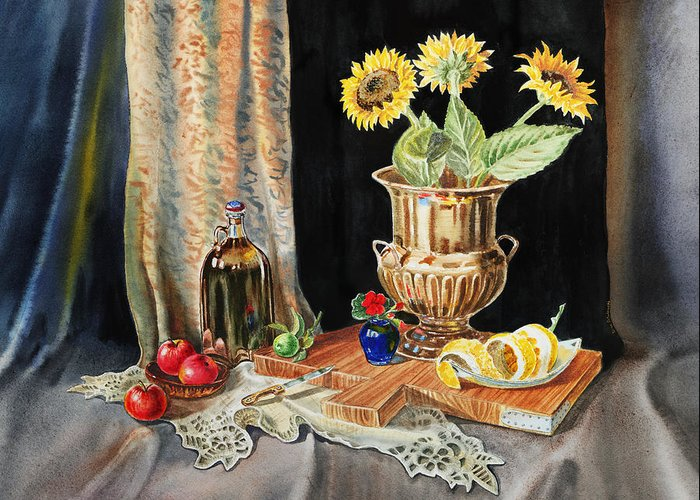 Sunflowers Greeting Card featuring the painting Still Life With Sunflowers Lemon Apples And Geranium by Irina Sztukowski