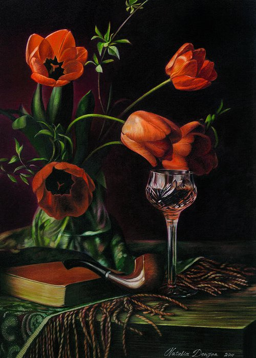 Still Life Greeting Card featuring the drawing Still Life With Tulips - Drawing by Natasha Denger