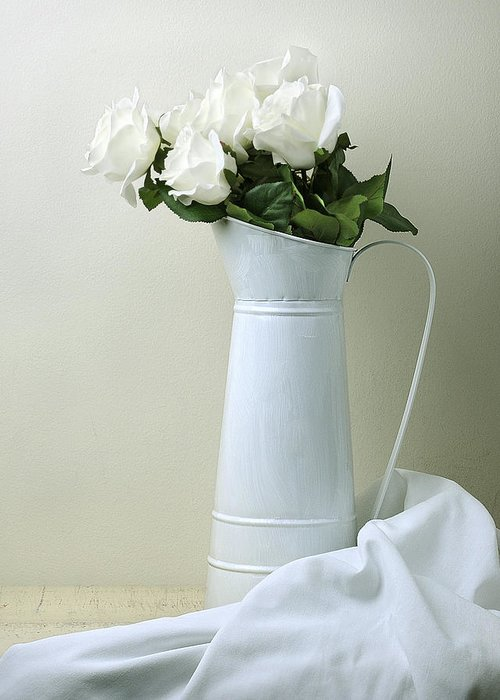 Stilllife Greeting Card featuring the photograph Still Life With White Roses by Krasimir Tolev