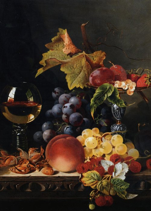 Birds Nest Butterfly And Fruit Greeting Card featuring the digital art Still Life With Wine Glass And Silver Tazz by Edward Ladell