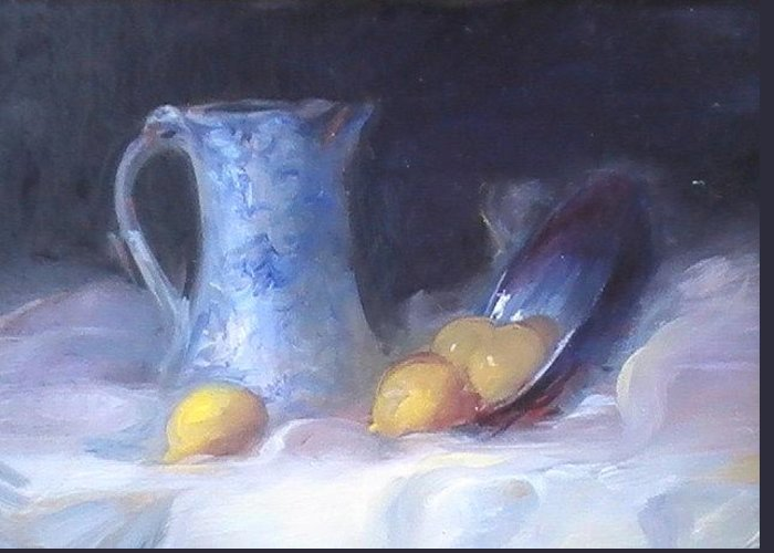 Still Life Greeting Card featuring the painting Still Life With Yellows And Blues by Patricia Kimsey Bollinger