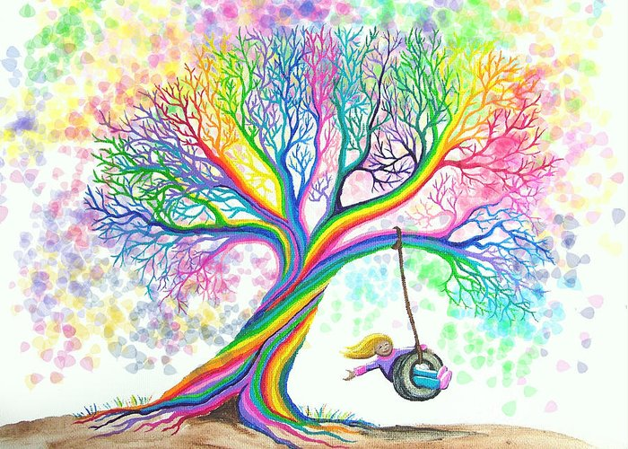 Colorful Art Greeting Card featuring the painting Still More Rainbow Tree Dreams by Nick Gustafson
