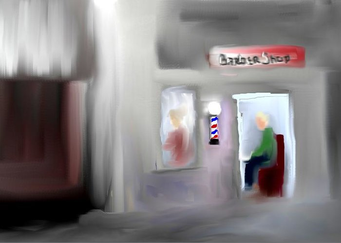 Barbershop Art Prints Greeting Card featuring the digital art Still Open by Jessica Wright