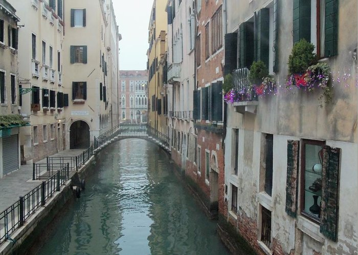 Canals In Venice Greeting Card featuring the photograph Still Waters In Venice Italy by Jan Moore