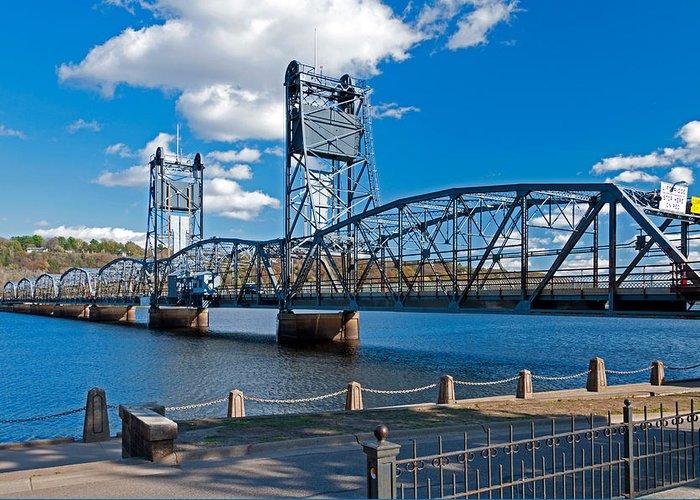 Stillwater Aerial Lift Bridge; Bridge; Stillwater; Minnesota; St Croix River; River; Water Greeting Card featuring the photograph Stillwater Aerial Lift Bridge by Lonnie Paulson