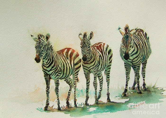 Zebras Greeting Card featuring the painting Stipes II by Patricia Henderson