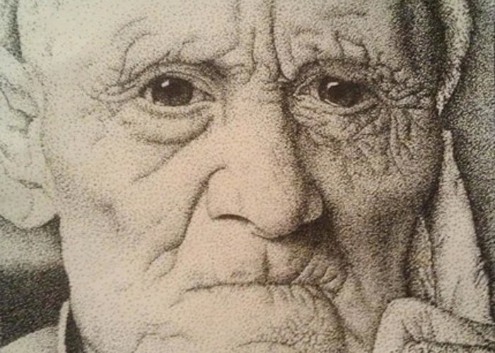 Old Man Greeting Card featuring the drawing Stippling Of An Old Man by Lisa Marie Szkolnik