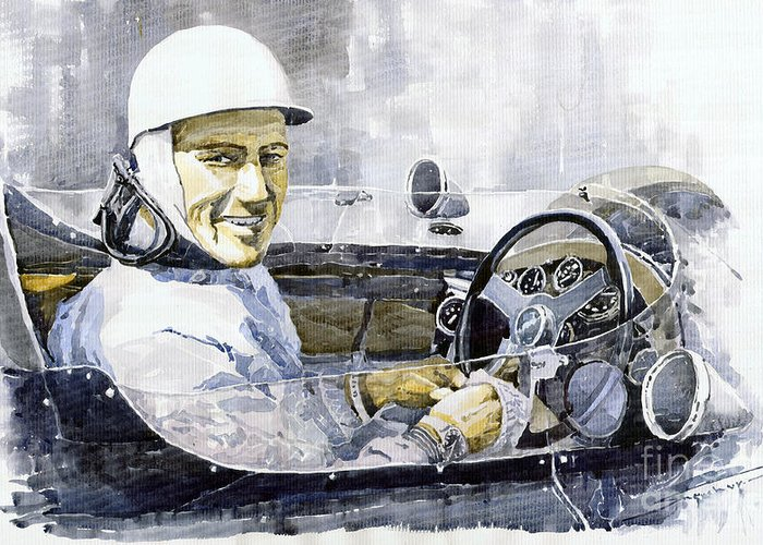 Watercolor Greeting Card featuring the painting Stirling Moss by Yuriy Shevchuk