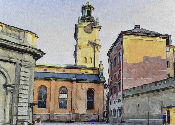 Stockholm Greeting Card featuring the digital art Stockholm 1 by Yury Malkov