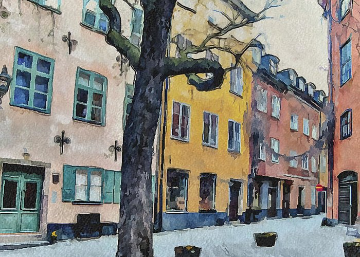 Stockholm Greeting Card featuring the digital art Stockholm 14 by Yury Malkov