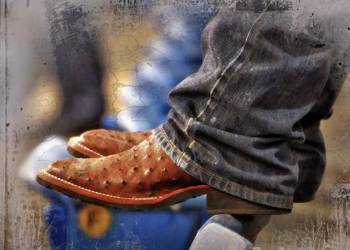 Adult Greeting Card featuring the photograph Stockshow Boots IIi by Joan Carroll