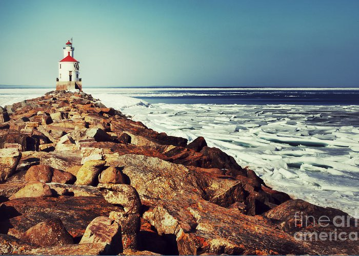 Wisconsin Point Greeting Card featuring the photograph Stone And Ice At Wisconsin Point by Ever-Curious Photography
