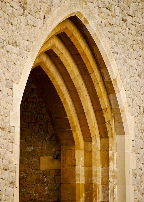 Britain Greeting Card featuring the photograph Stone Archway At Tower Hill by Christi Kraft