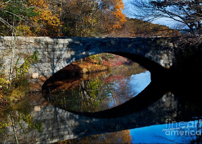 Stone Bridge With Arch Taken In The Fall In New England Greeting Card featuring the photograph Stone Bridge by Jim Calarese