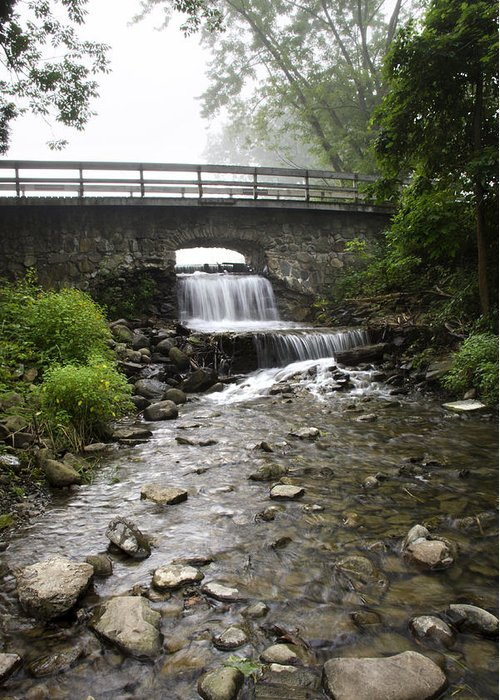 Stone Greeting Card featuring the photograph Stone Bridge Over Small Waterfall by Christina Rollo