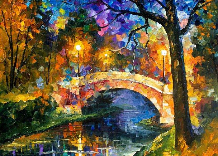 Oil Paintings Greeting Card featuring the painting Stone Bridge - Palette Knife Oil Painting On Canvas By Leonid Afremov by Leonid Afremov