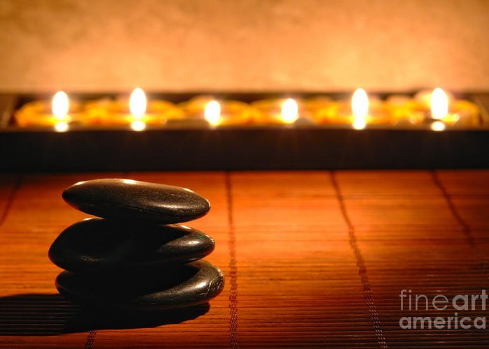 Zen Greeting Card featuring the photograph Stone Cairn And Candles For Quiet Meditation by Olivier Le Queinec