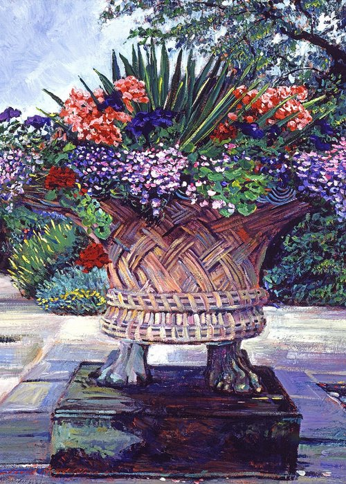 Garden Greeting Card featuring the painting Stone Garden Ornament by David Lloyd Glover