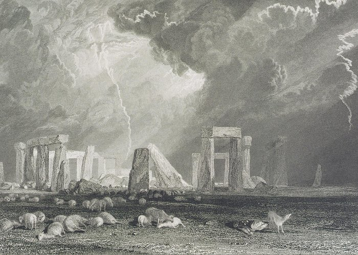 Stone Greeting Card featuring the drawing Stone Henge by Joseph Mallord William Turner