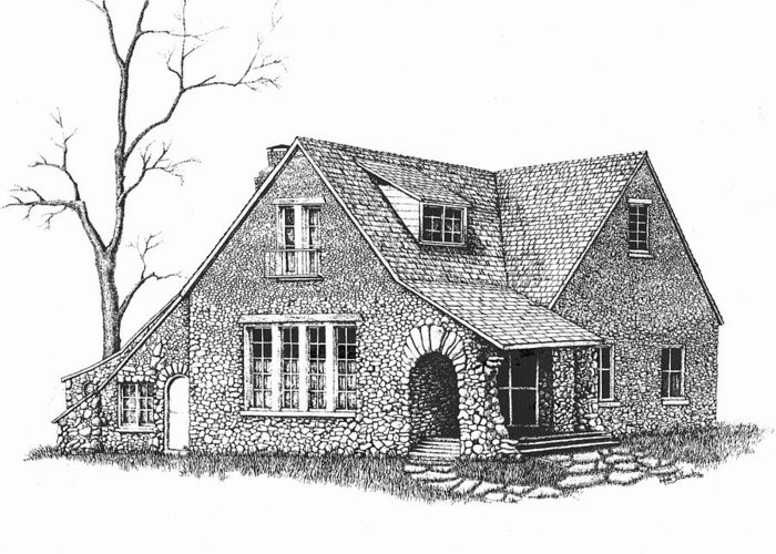 Stone House Drawings Greeting Cards
