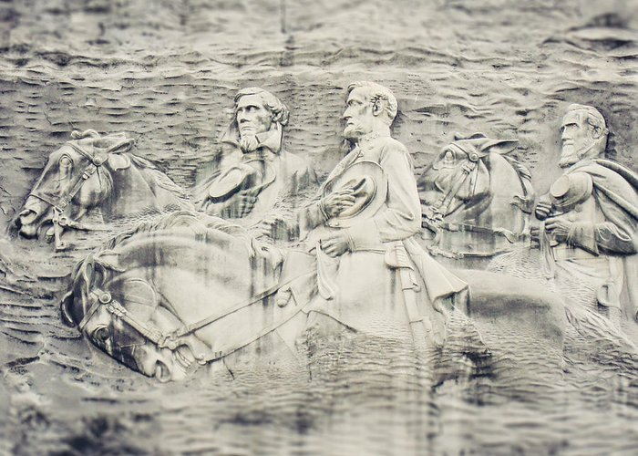 Stone Mountain Greeting Card featuring the photograph Stone Mountain Georgia Confederate Carving by Lisa Russo
