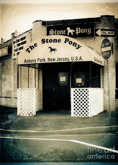 Street Photography Greeting Card featuring the photograph Stone Pony by Colleen Kammerer