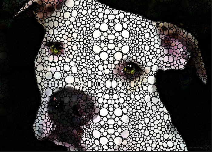 Pittie Mixed Media Greeting Cards