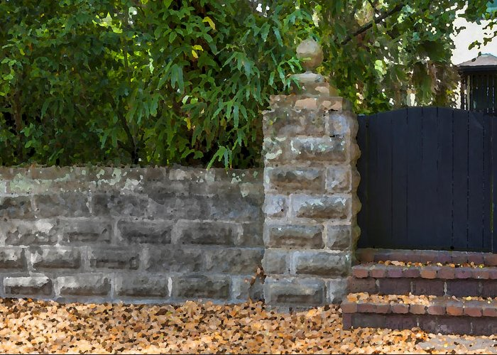 St. Augustine Greeting Card featuring the photograph Stone Wall And Gate by Rich Franco