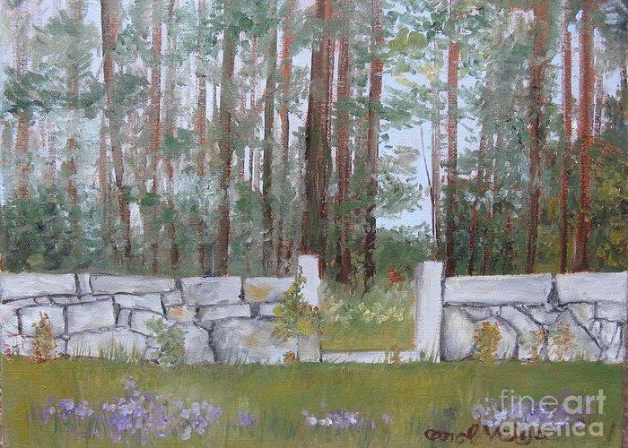 Stone Wall On Highland Ave Greeting Card featuring the painting Stone Wall On Highland Ave by Carol Veiga