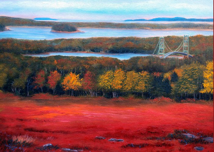 Maine Greeting Card featuring the painting Stonington Bridge In Autumn by Laura Tasheiko