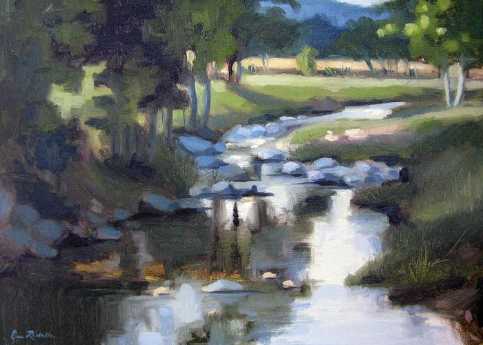 Creek Greeting Card featuring the painting Stony Creek by Erin Rickelton