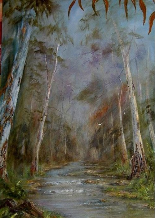 Landscape Greeting Card featuring the painting Stony Creek by Rita Palm