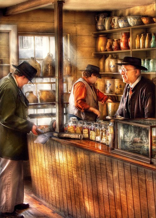 Savad Greeting Card featuring the photograph Store - Ah Customers by Mike Savad