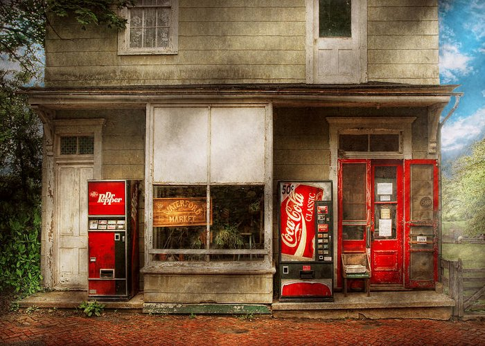 Savad Greeting Card featuring the photograph Store Front - Waterford Va - Waterford Market by Mike Savad