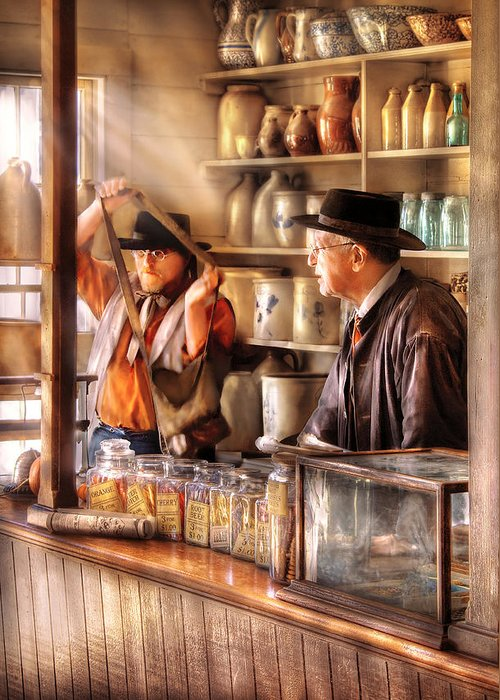 Savad Greeting Card featuring the photograph Store - The Messenger by Mike Savad