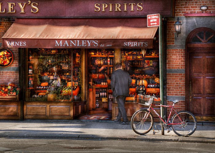 Manley Greeting Card featuring the photograph Store - Wine - Ny - Chelsea - Wines And Spirits Est 1934 by Mike Savad