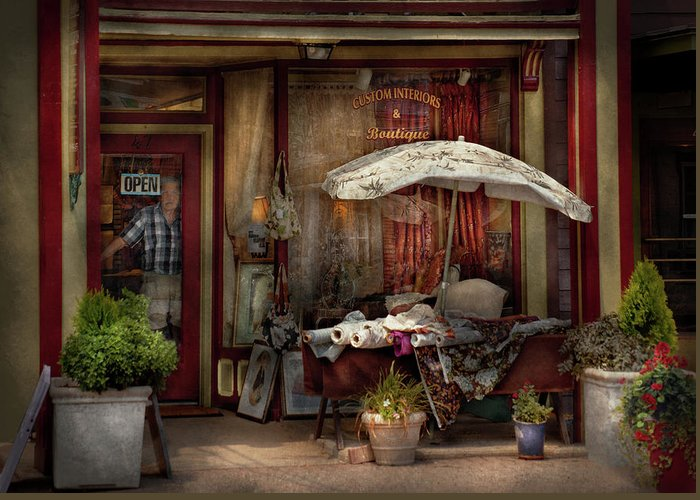 Hdr Greeting Card featuring the photograph Storefront - Frenchtown Nj - The Boutique by Mike Savad