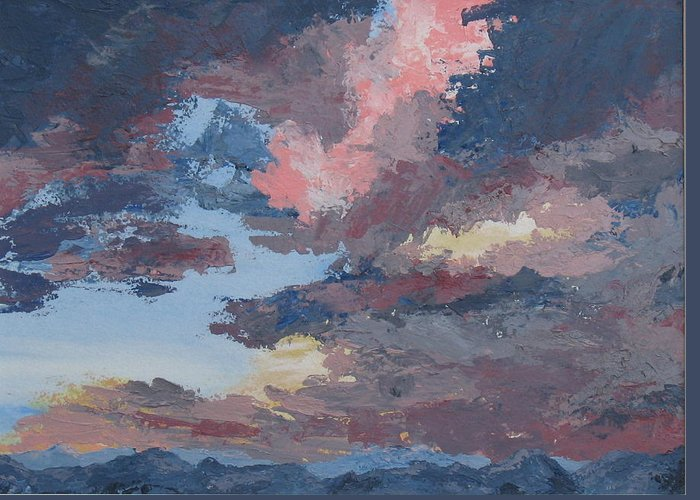 Stormy Sky Greeting Card featuring the painting Storm A Brewin by Janis Mock-Jones